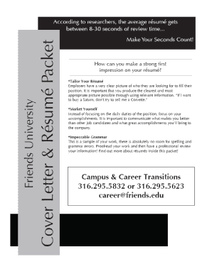 Resume And Cover Letter Packet - Friends University - friends