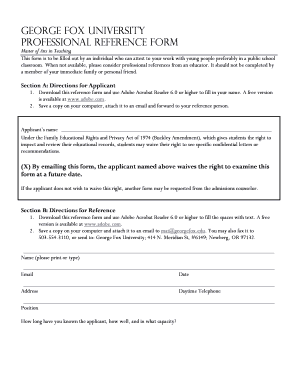 GEORGE FOx uNIVERSITY PROFESSIONAL REFERENCE FORM