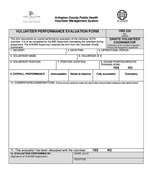 Volunteer Performance Evaluation Form