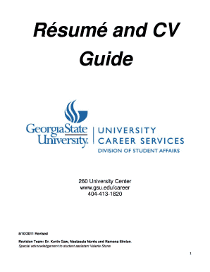 R sum and CV Guide - Career Services - Georgia State University - gsu