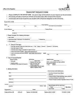 Gonzaga University Transcripts - Fill Online, Printable, Fillable ...