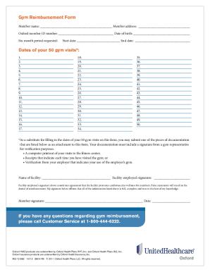 Oxford Gym Reimbursementpdffillercom Fill Online Printable