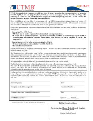 Mychart utmb fill online printable fillable blank pdffiller