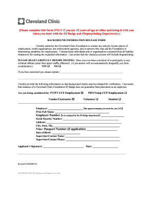 Cleveland Clinic Background Information Release Form