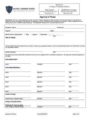 thesis approval form ohio state Deadline for presenting one copy on regular paper and all signature pages on acid-free cotton bond paper and the originality of thesis/dissertation verification form for approval to the dean of college of graduate studies is.