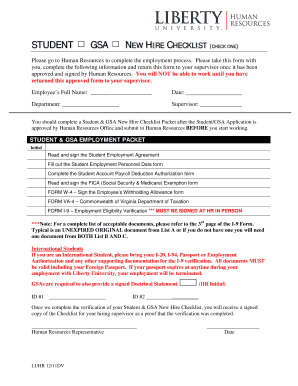 Fillable Online Liberty Student New Hire Checklist Liberty University Liberty Fax Email Print Pdffiller