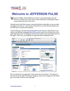 Welcome to Pulse, Jefferson University's web-based program that will allow you to check your email, look up course informat.... Letterhead - jeffline jefferson