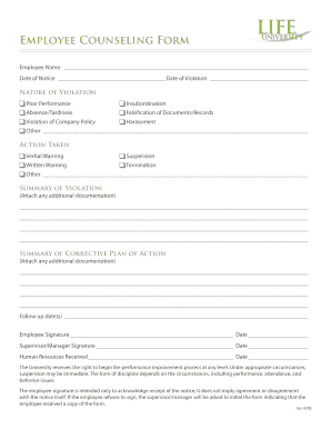 Employee Counseling Form | Copy Of A Blank Federal Employee Counseling Form Fill Online