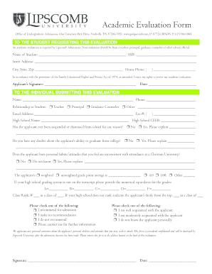 Lipscomb University Secondary School Report Form - Fill Online ...