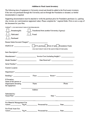 Fillable Online longwood Addition to Fixed Assets Inventory Form ...