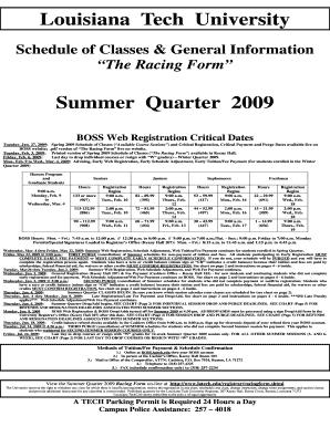 Fillable Online Latech The Racing Form Summer Quarter 2009 Boss Web Registration Fax Email Print Pdffiller