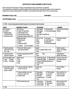Fillable Online luc CERTIFICATION OF HAZARD ASSESSMENT FORM FOR ...