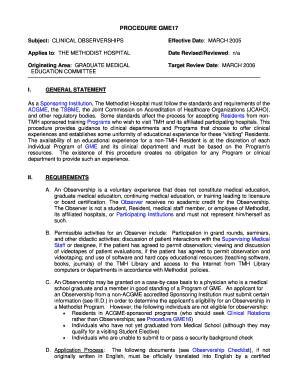 Methodist Hospital Observership - Fill Online, Printable, Fillable