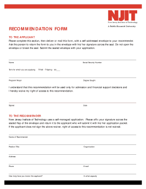 Fillable Online njit Graduate Recommendation Form - New Jersey ...
