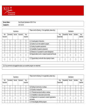Fillable Online njit Graduate Student Satisfaction Survey Form ...