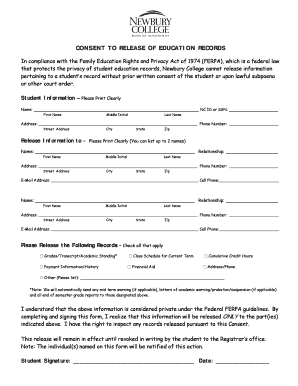 Fillable Online FERPA Consent Form - Newbury College Fax Email ...