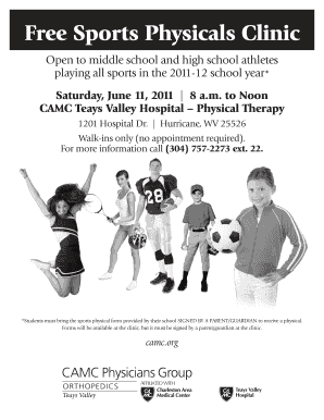 sports physical form wv  Free Sports Physicals Hurricane Wv - Fill Online, Printable ...
