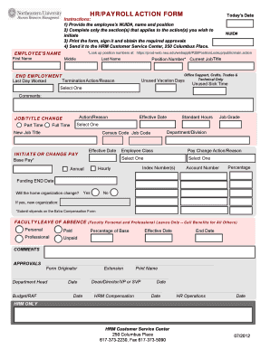 Fillable Online Northeastern Hr Payroll Action Form Pdf Fax Email Print Pdffiller