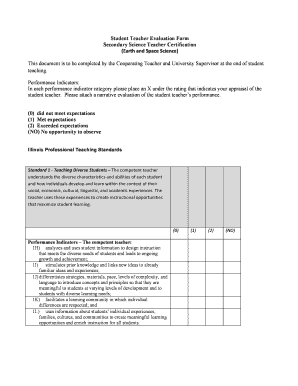 Student Teacher Evaluation Form Secondary Science Teacher Certification - niu