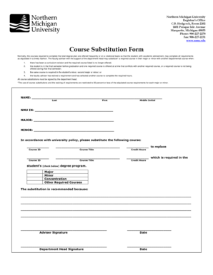 Fillable Online nmu Course Substitution Form - Northern Michigan ...