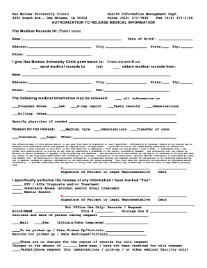 Request for medical records form - Des Moines University - dmu