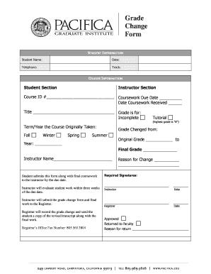 Pacifica Graduate Institute Fillable Online Grade Change Form ...
