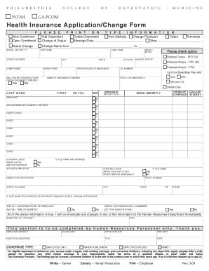 Fillable Online pcom Health Insurance Application/Change Form ...