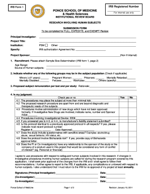 fillable online psm irb form 1 page1 pdf ponce school of medicine