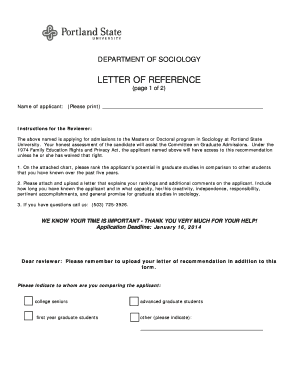 portland state university recommendation letter form