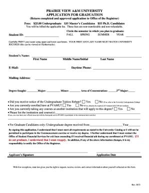 Fillable Online pvamu Graduation Application Form - Prairie View ...