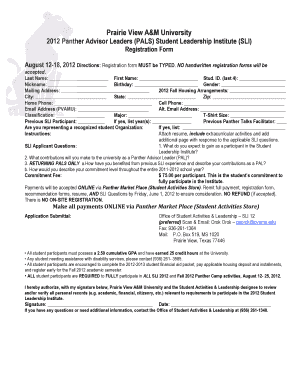 Delightful 2012 Student Leadership Institute Application   Prairie View Au0026M ...   Pvamu  Fill In Resume Online Free