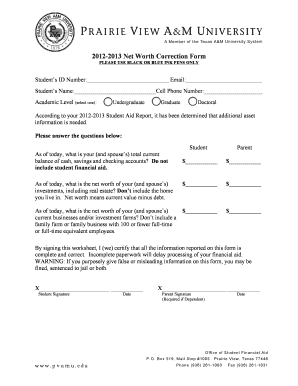 2012-2013 Net Worth Correction Form - pvamu