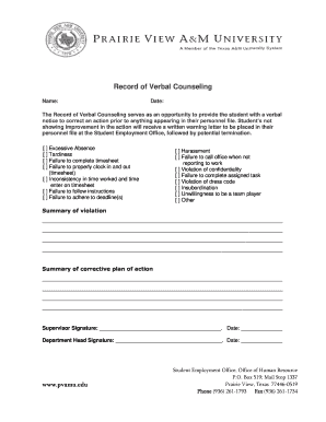 blank verbal counseling form