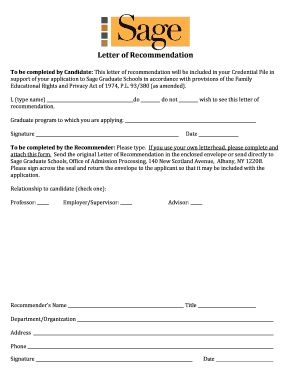 sgs recommendation letter form