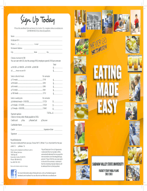 saginaw valley meal plan form