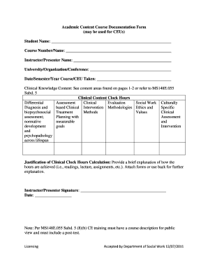 Academic Content Course Documentation Form   St. Cloud State ...    Stcloudstate