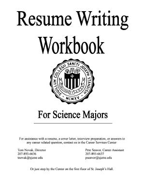 fillable online sjcme science resume workbook for web saint joseph 39 s