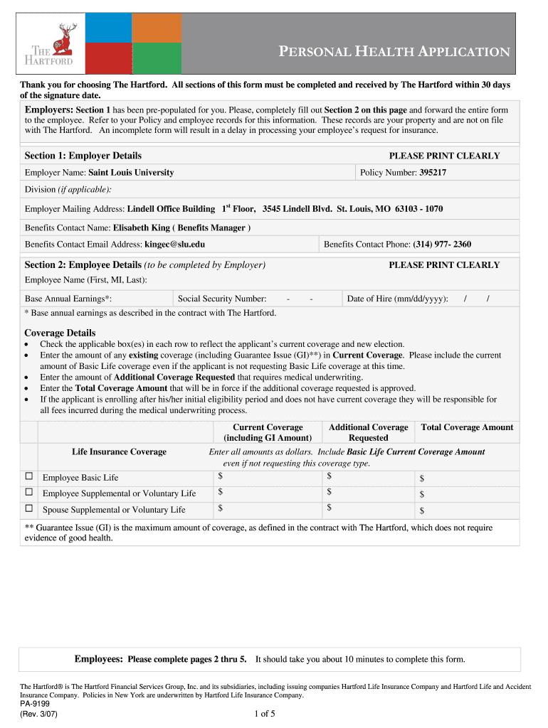 The Hartford Insurance Address >> Hartford Life Insurance Evidence Of Insurability Form Fill