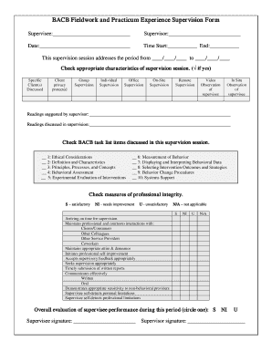 Bacb Experience Supervision Form Example - Fill Online, Printable ...