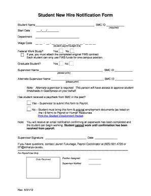 Fillable Online stmarys-ca Student New Hire Notification Form ...