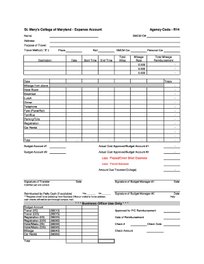 fillable online smcm expense account form st mary 39 s college