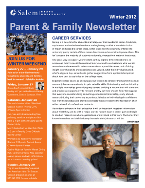 Parent & Family Newsletter, Winter 2012 - Salem State University - salemstate