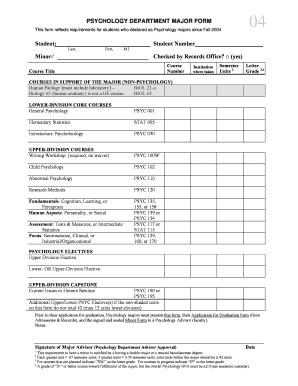 Fillable Online sjsu PSYCHOLOGY DEPARTMENT MAJOR FORM This form ...