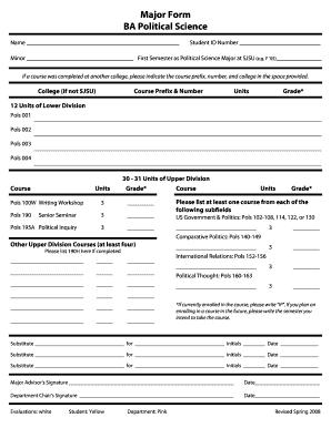 Fillable Online sjsu Major Form BA Political Science - sjsu Fax ...
