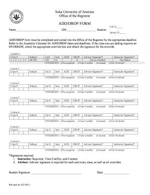 Fillable Online soka ADD/DROP FORM - Soka University - soka Fax ...