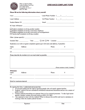Scsu Student Complaint Form - Fill Online, Printable, Fillable ...