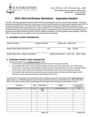 uconn verification worksheet for dependent student - Dependent Verification Worksheet