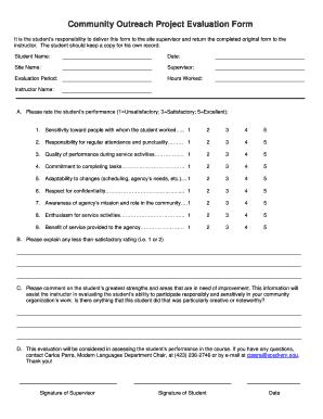 Evaluation Form For Outreach