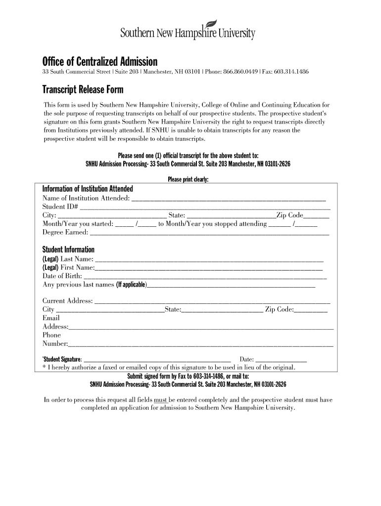 Snhu Academic Calendar.Snhu Transcript Fill Online Printable Fillable Blank Pdffiller