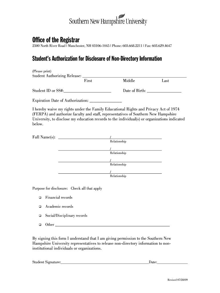 Snhu Academic Calendar.Snhu Ferpa Fill Online Printable Fillable Blank Pdffiller